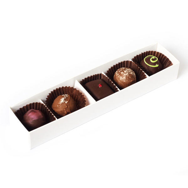 Five handmade truffles packed in a medium box
