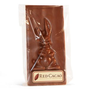 Block of milk chocolate with Easter bunny figure in it