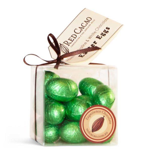 Premium hazelnut praline and white chocolate mini easter eggs in a box