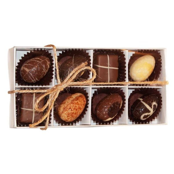Eight piece selection box of easter truffles