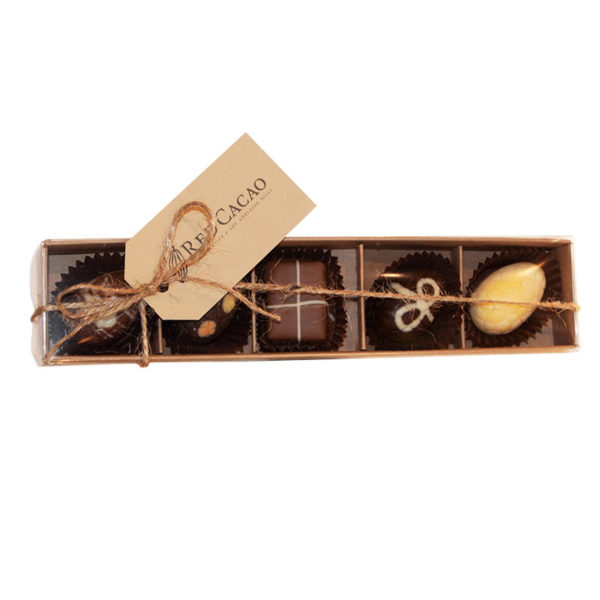 Five piece selection of small chocolate Easter eggs