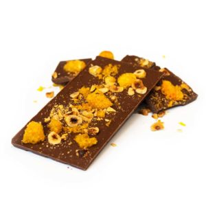 Coffee, hazelnut and mandarin milk chocolate block