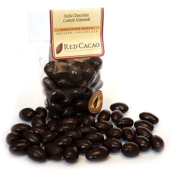 Dark chocolate coated roasted almonds