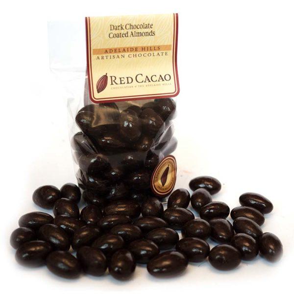 Dark chocolate coated roasted almonds