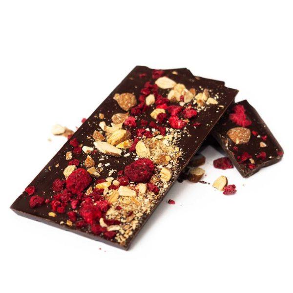 Raspberry, cherry, almond dark chocolate block