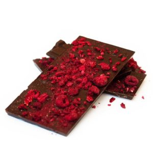 Raspberry dark chocolate block