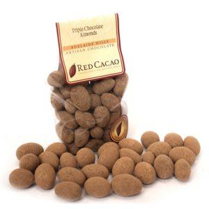 Triple chocolate coated roasted almonds