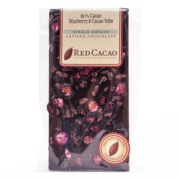 80 percent cacao, blueberry and cacao nib chocolate block