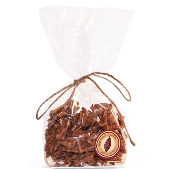 A crunchy chocolate coated almond snack