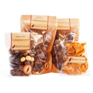 A selection of chocolates specially selected for a movie night at home with pretzels
