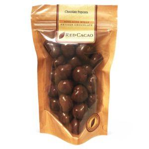 A bag of milk Chocolate coated popcorn
