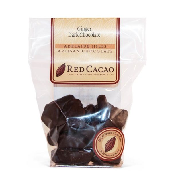 Dark chocolate covered ginger pieces