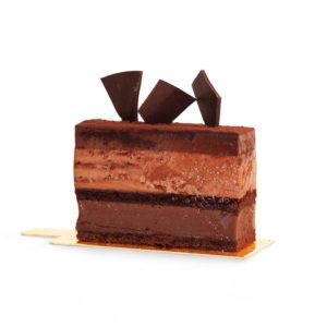 Slice of layered chocolate, caramel, chocolate mousse and dark chocolate ganache cake
