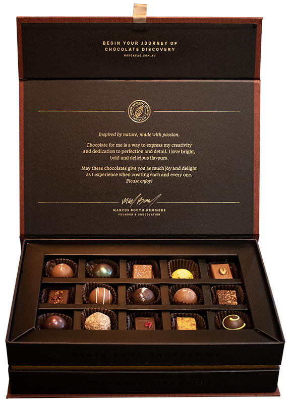 Open box display of the signature collection of red cacao's finest truffles