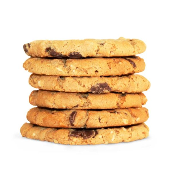 Six stack of peanut butter and chocolate chip cookie