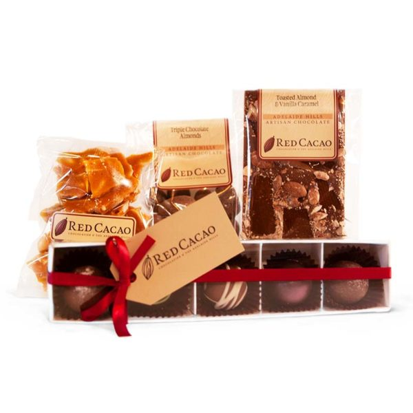 A selection of chocolates featuring an Almond and Vanilla Caramel block specially selected for self care in tough times