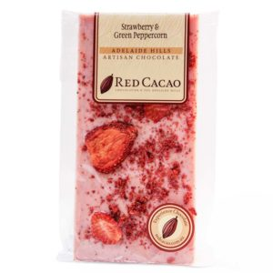 Strawberry and green peppercorn chocolate block
